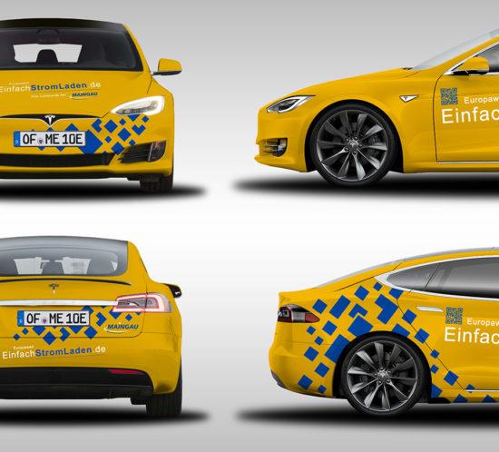 Fahrzeugbeschriftung Maingau Energie - Tesla Model S